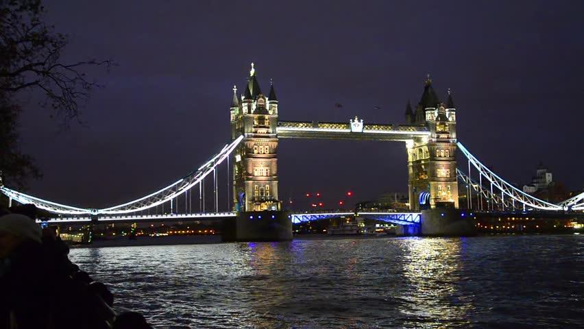 Tower Bridge in London night view, London, United Kingdom