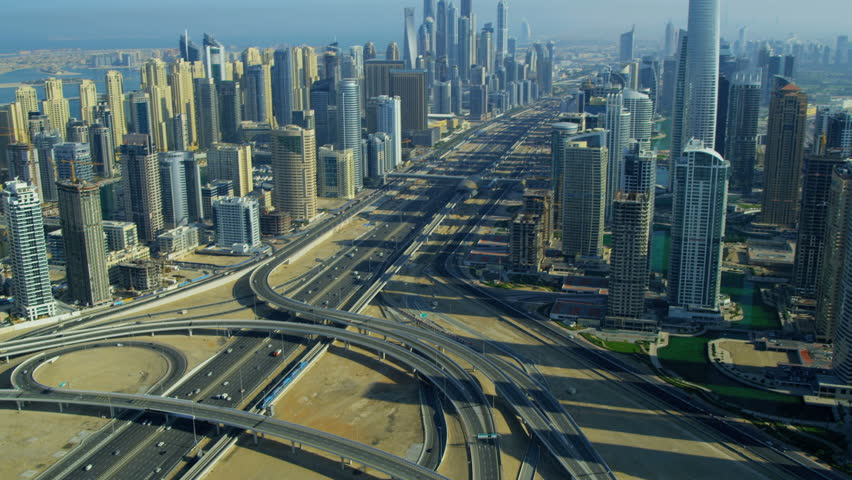 Aerial view Sheikh Zayed expressway, Jumeirah Lakes Interchange Dubai city, UAE, RED EPIC, 4K, UHD, Ultra HD resolution | Shutterstock HD Video #5306081