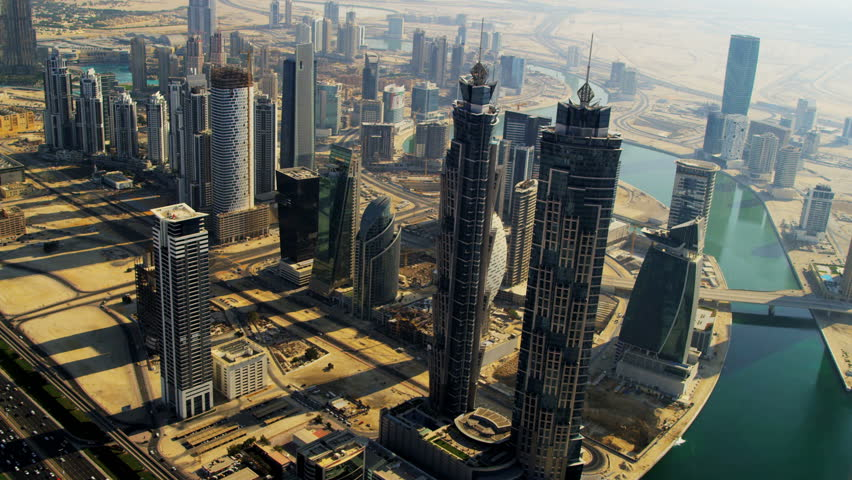 Aerial view Burj Khalifa, Dubai Creek Sheikh Zayed Road, and downtown Dubai, UAE, RED EPIC, 4K, UHD, Ultra HD resolution