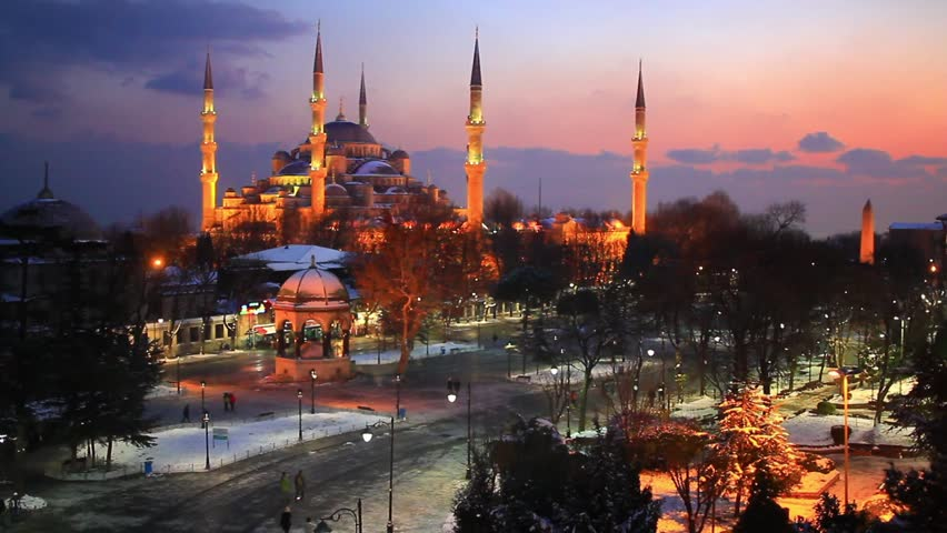 Blue Mosque, Sultanahmet Square at winter sunset. Sultanahmet Camii most famous as Blue Mosque in Istanbul, Turkey.  - HD stock video clip