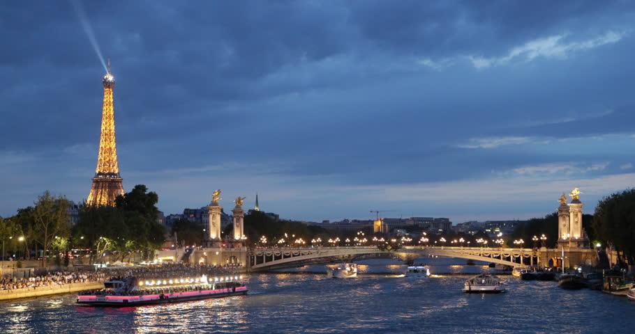paris france july 25 2013 iconic eiffel tower paris tourists visit in tour boats on seine. Black Bedroom Furniture Sets. Home Design Ideas