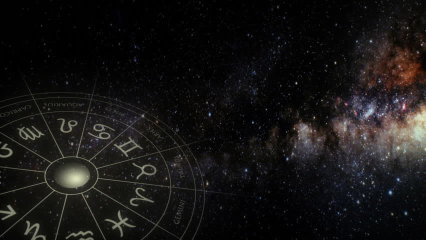 Astrological zodiac symbols background - seamless looping