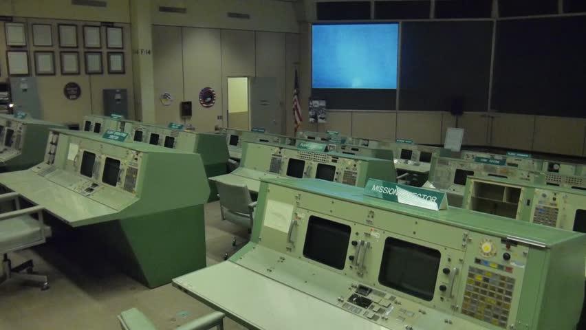 Houston, Texas - November 20, 2013 - Panning shot of the Christpher C. Kraft Jr. Mission Control Center of the Lyndon B. Johnson Space Center in Houston, Texas.