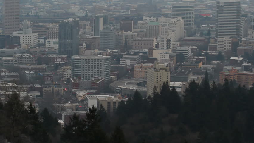 Portland OR Downtown Cityscape with Mount Hood at Sunset with Heavy Thick Fog Panning Expansive View 1920x1080 - HD stock footage clip