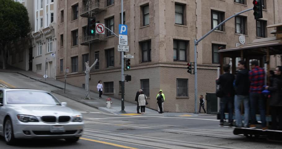 SAN FRANCISCO, USA - APRIL 11, 2013 Cable Car in San Francisco, Commuters, Passengers Tourists Enjoy a Tram Ride ( Ultra High Definition, Ultra HD, UHD, 4K, 2160P, 4096x2160 )