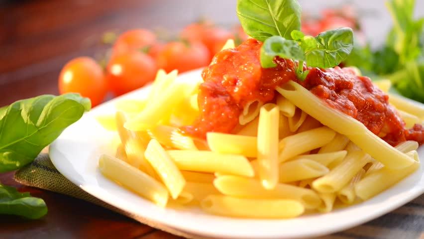 Italian gourmet dish pasta and legumes stock footage video - Italian cuisine pasta ...