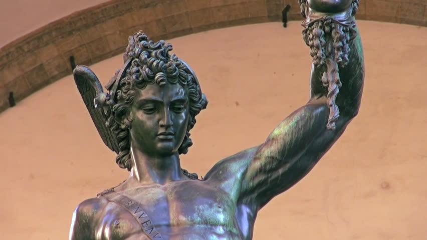 Statue of Perseus with the head of Medusa in Loggia dei Lanzi, Piazza della Signoria, Florence, Italy. - HD stock footage clip