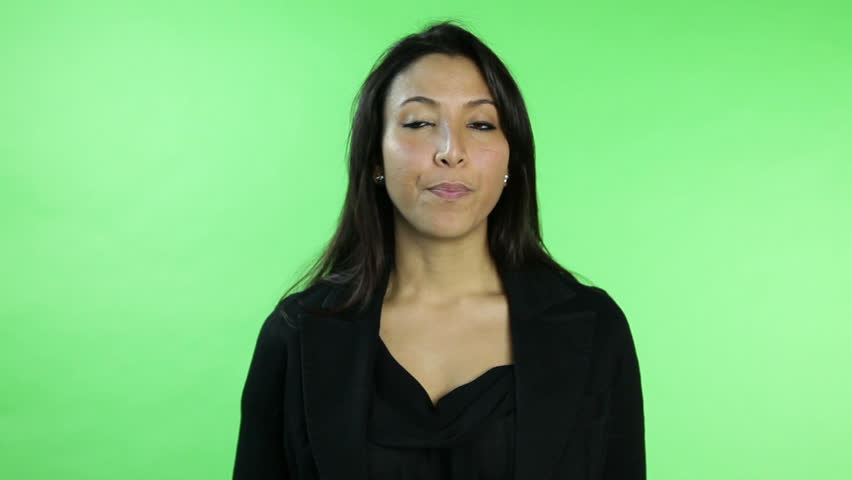 business woman isolated on green screen upset interview