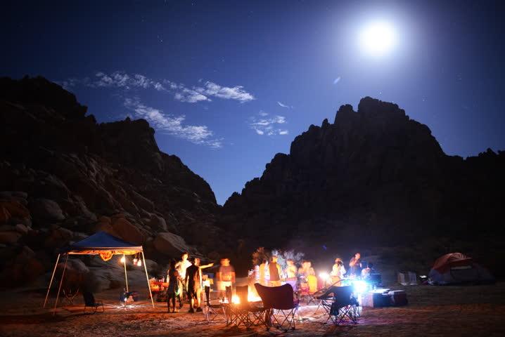4K Time Lapse of People Enjoying Camping around Bonfire in Desert at Night