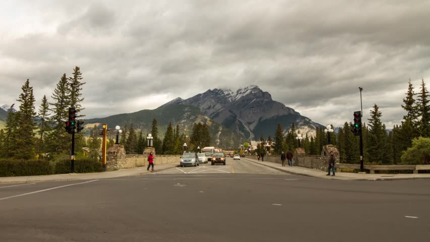 Time Lapse shot of Street Traffic in Banff on a cloudy day. Shot in Banff, Alberta, Canada