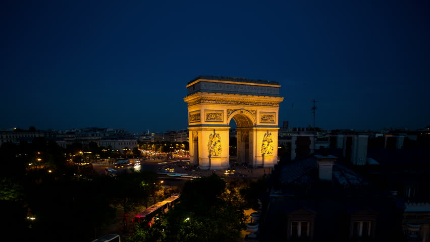 4k Timelapse of the arc de triomphe, paris at sunset shot from a unique vantage point. super high quality, 4k resolution (4096x2304). | Shutterstock HD Video #5399015