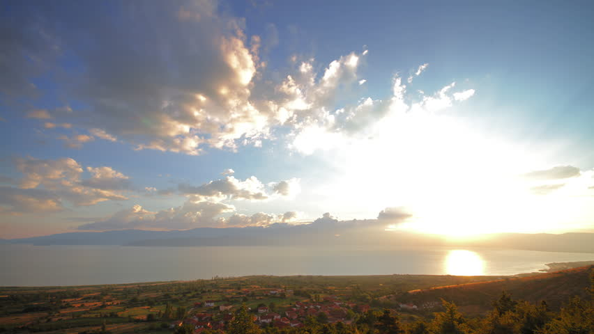 4K sunset beautiful summer landscape with cloudy sky and natural lake, time-lapsed wide shot from day to night #5407241