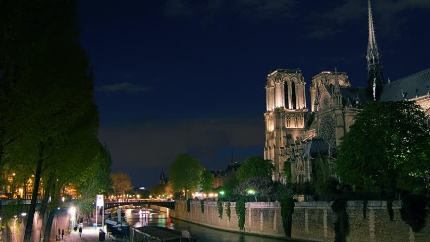 PARIS - April 12: twilight hour in Paris,view of the Notre Dame. April 12, 2012.time lapse, 4k. | Shutterstock HD Video #5497142