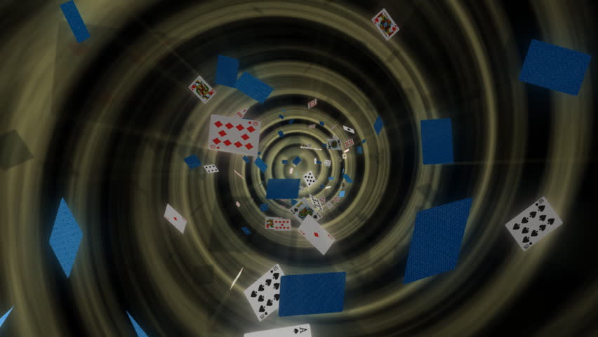 abstract background with animated playing cards falling into a tunnel
