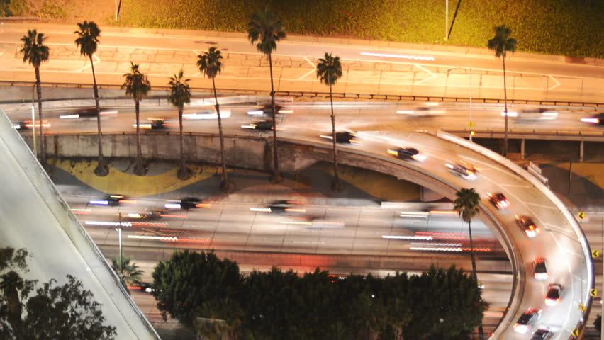 Time Lapse of Busy Freeway Ramp in Downtown Los Angeles during Rush Hour