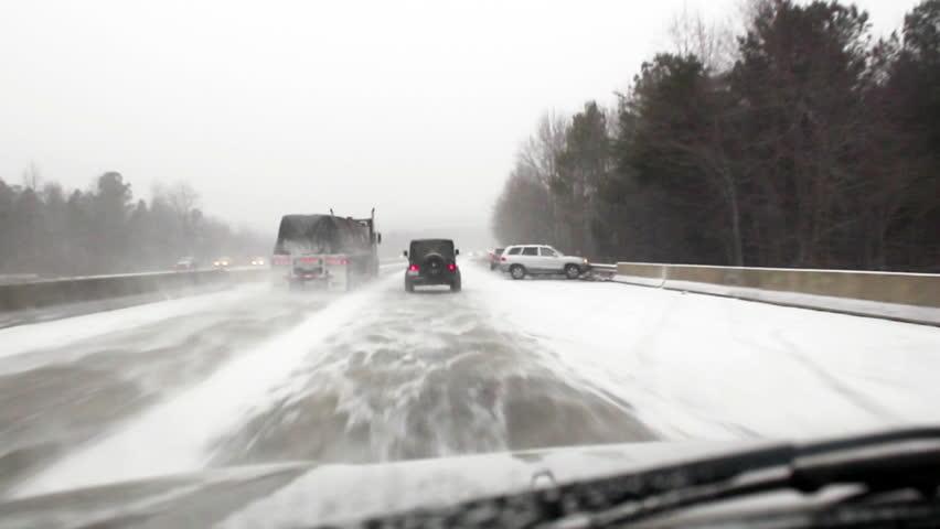 Gastonia, North Carolina January 28, 2014:  Winter storm Leon slams the deep south and wreaks major havoc on the roadways