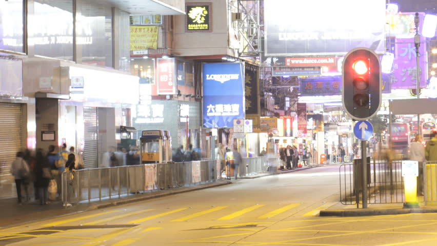 HONG KONG 2012 - Time Lapse Of A Busy Junction In Kowloon, Hong Kong - HD stock footage clip