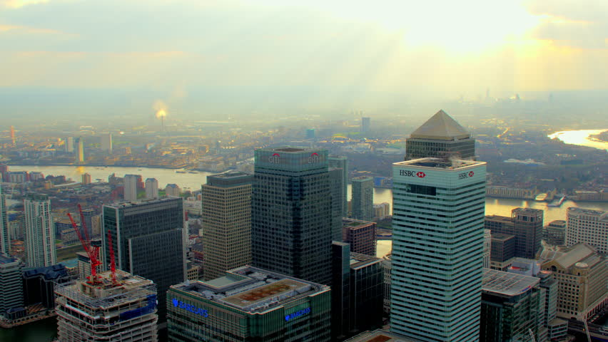 4K Aerial shot of Central London with view of the River Thames, Canary Wharf