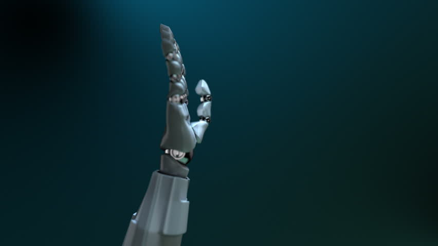 """Animated robot hand gesture """"OK"""" (thumb up). Left side. Alpha channel. Depth of field."""