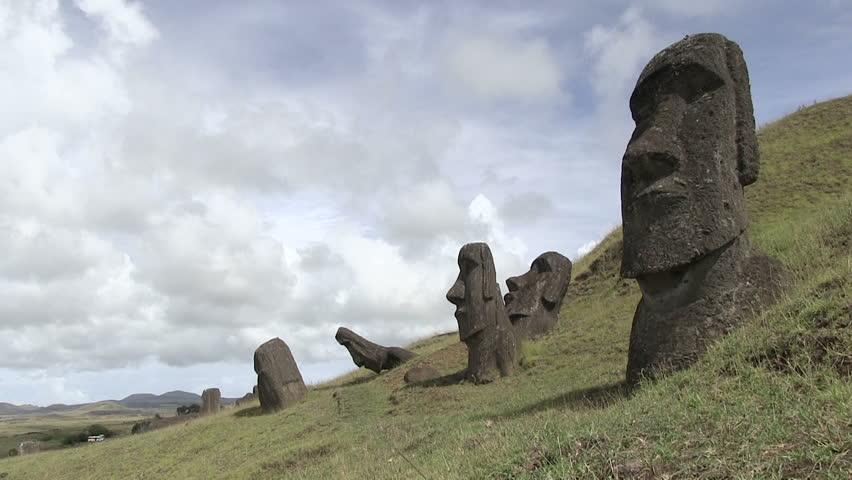 Moai, Easter Island, Chile - HD stock video clip