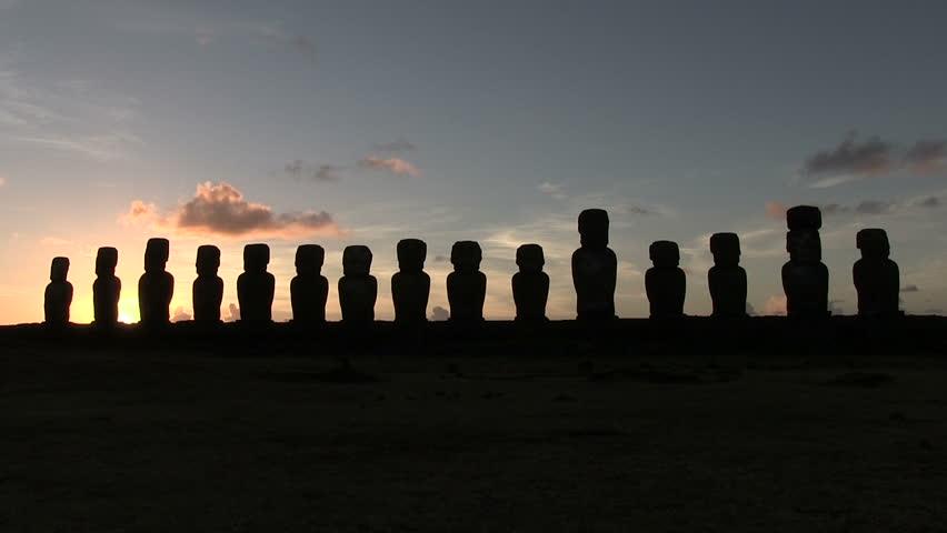 Moai, Easter Island, Chile - HD stock footage clip
