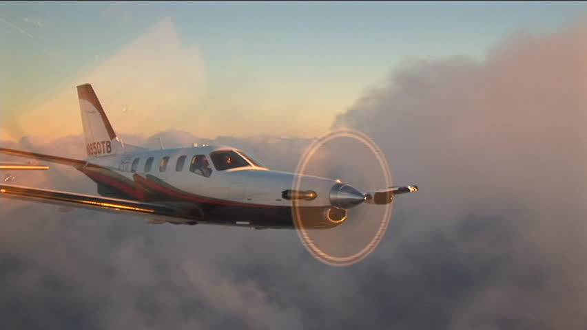 Socata TBM850 single engined turboprop in flight around the Bahamas, breaking many speed records. This is the worlds fastest single engined turboprop currently in production. - SD stock footage clip
