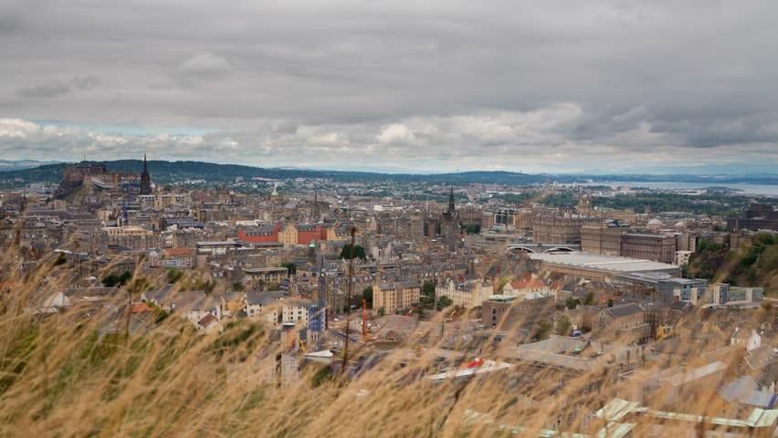 4K version of Edinburgh old town skyline Timelapse
