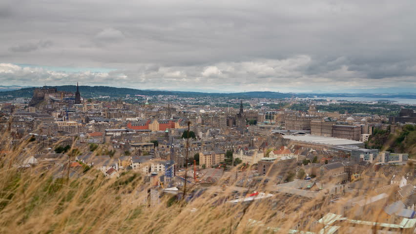 4K version of Edinburgh old town skyline Timelapse