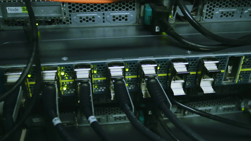 Fully loaded network media converters and ethernet switches, Lights on network server (Hd, 1920x1080, 1080p, high definition)
