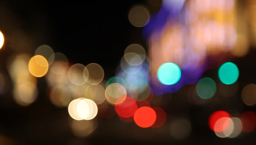 Blurred city lights with tram