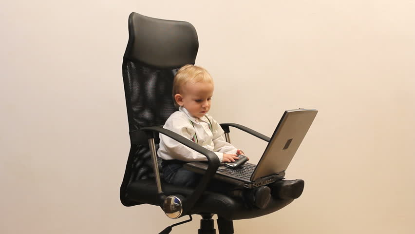 Cute Little Child Play The Manager, Enjoy To Work, Phone ...
