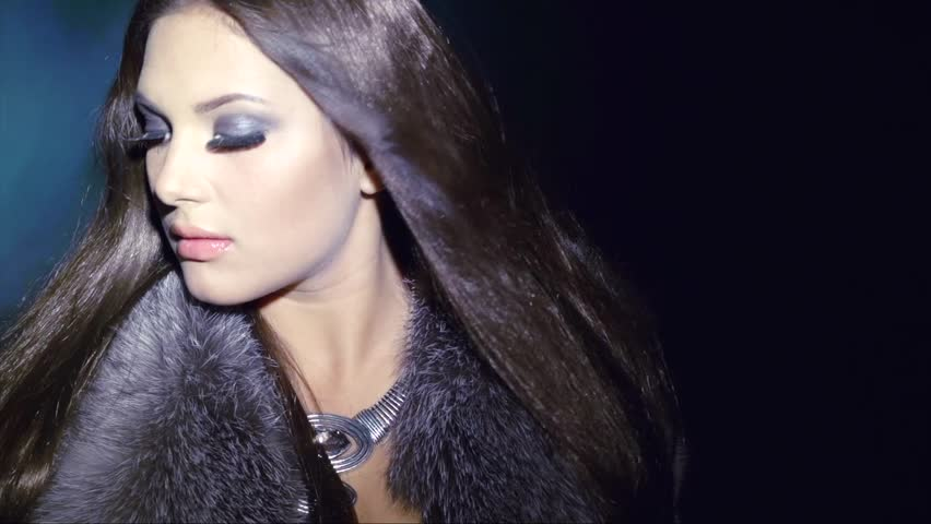 Beauty Fashion Model Girl in Fur Coat. Beautiful Woman in Luxury Silver Fox Fur Jacket. Waistcoat. Winter Fashion. Fashion Makeup. Blowing Hair in the snow. Slow motion shot 240 fps | Shutterstock HD Video #5616221