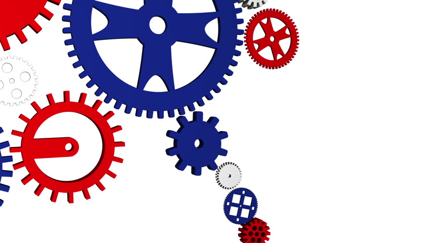 3d rendered quotteamworkquotlogo with figures and gears red