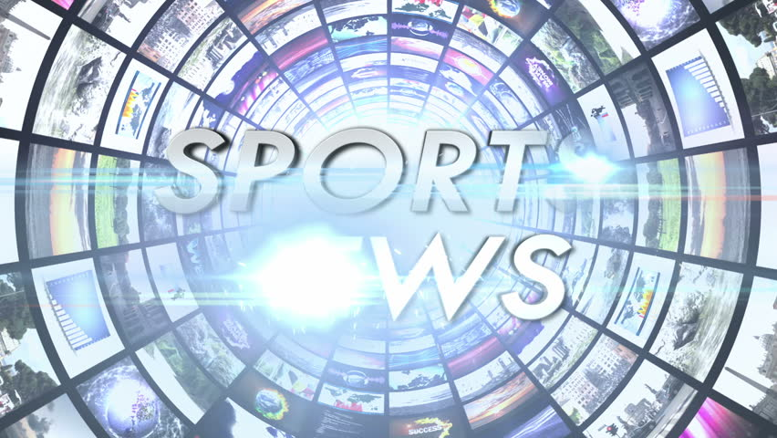 Sports News Text in Monitors Tunnel, Loop