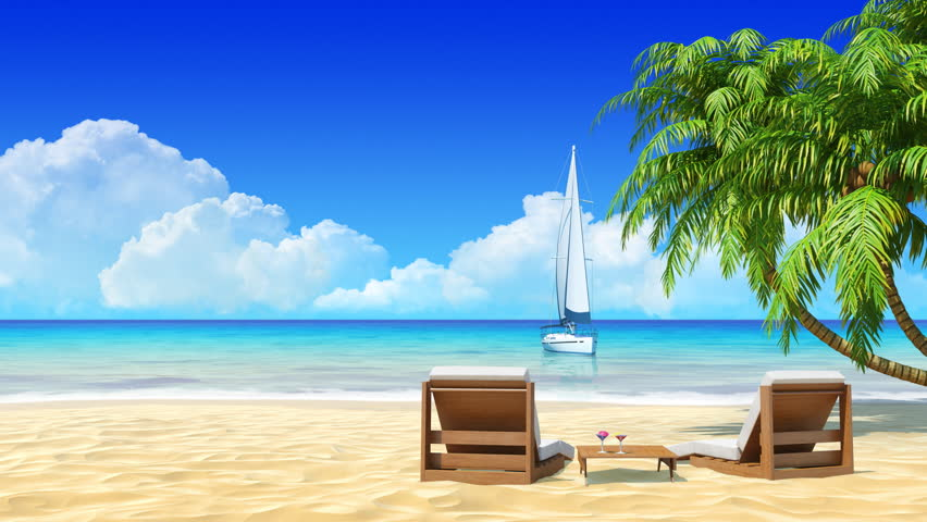 Tropical Island Resort Beaches: Yacht Sailing With Tropical Island On Background. Travel