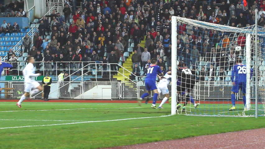 RIJEKA, CROATIA FEBRUARY 19: soccer play off match NK Rijeka (white) vs. NK Osijek (blue) on February 19, 2014 in Rijeka.