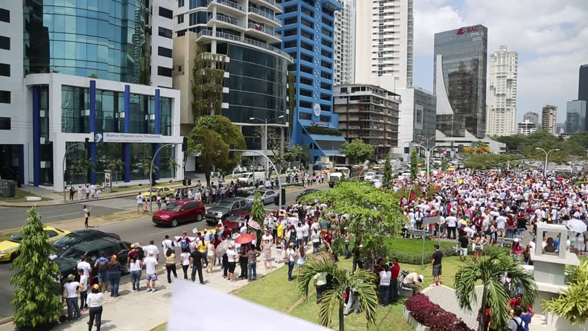 Panama City, Panama, Circa 2013: Panamanian park is filled with Venezuelans protesting against their own government in Panama City, Panama, Circa 2013 - HD stock video clip