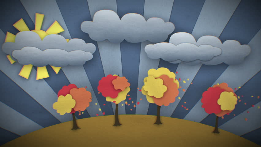 Change of Seasons Beautiful illustration. Concept Time-lapse. Cartoon style 3d animation. Looped video. HD 1080. - HD stock video clip