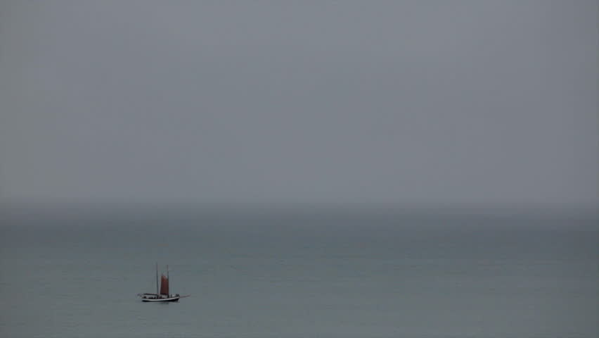 Boat sailing in a foggy day in Iceland sea #5727641