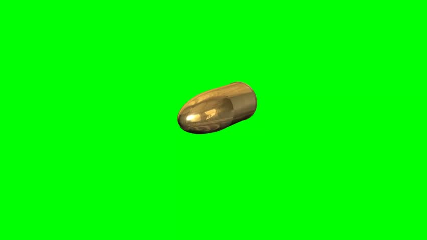 flying gold bullet - green screen  - HD stock footage clip