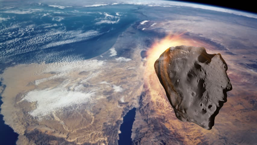 An asteroid/meteor is burning up upon entry into the Earth's upper atmosphere. Asteroids, meteors, space rocks, comets, and other interstellar debris threaten the safety of the Earth.