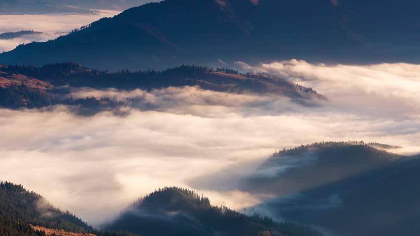 Time lapse clip. Fantastic mountain landscape with colorful cloud. Dramatic sky. Carpathian, Ukraine, Europe. Beauty world. Full HD video (High Definition) #5750735