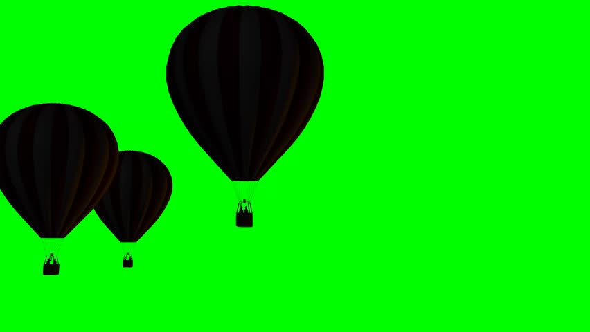 Hot Air Balloons Beautiful Silhouette - green screen  - HD stock video clip