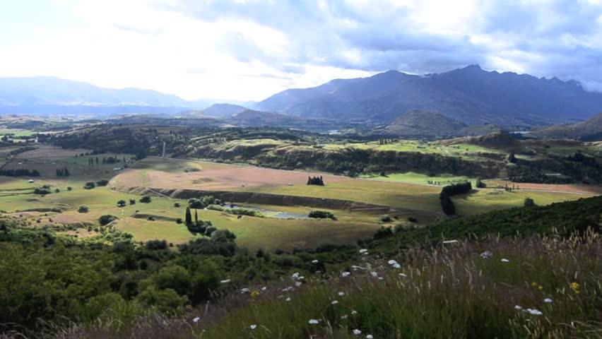 Landscape of Kawarau River valley and Lake Wakatipu in Otago, New Zealand. - HD stock video clip