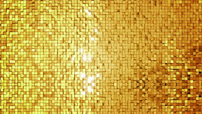 Golden square blocks background animation. Seamless loop.
