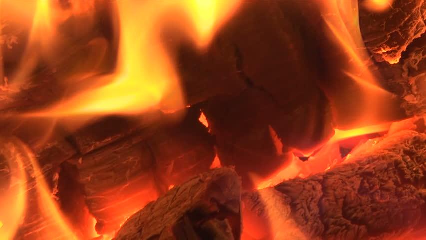 Live coals. Live-coals burning in a campfire, closeup.  - HD stock footage clip