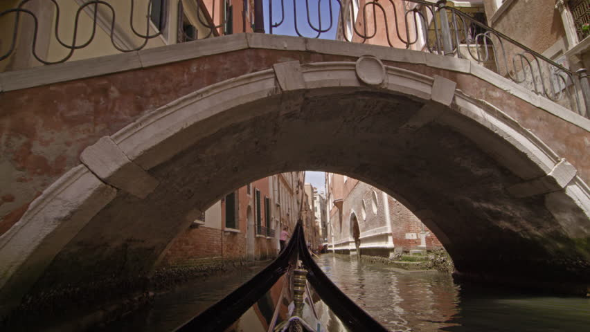 View from a gondola as it travels under a bridge in canal | Shutterstock HD Video #5794862