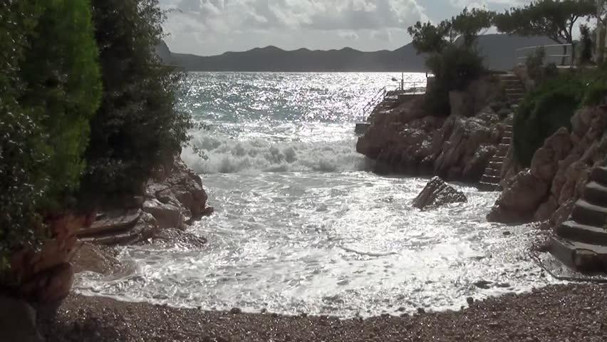 Storm at small natural bay  - HD stock video clip