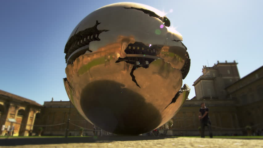 """ROME, ITALY - MAY 5, 2012: Slow motion close up shot of """"Sphere within Sphere"""" - 4K stock footage clip"""