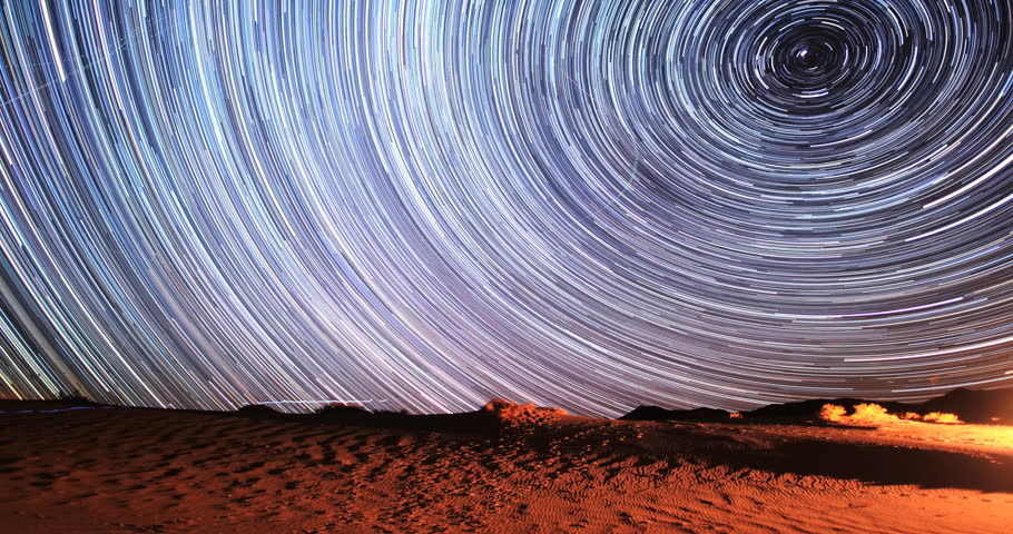 4K Stunning Star Trails Galaxy Cosmos Time-lapse over Death Valley Desert in California. Polaris North Star at center as earth rotates on axis. Beautiful in 4K. Featured in National Geographic.    Shutterstock HD Video #5839520